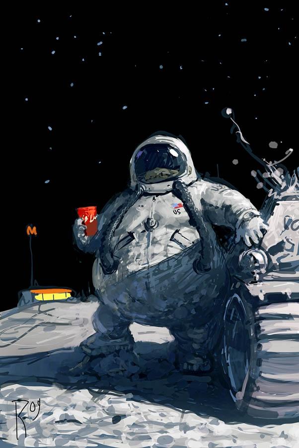 Nếu con người có thể sinh sống được trên mặt trăng, chúng ta sẽ càng có lí do để buông thả,vì một người nặng 60kg trên Trái Đất sẽ chỉ nặng 10kg trên mặt trăng. Tuy nhiên, vấn đề không phải là bạn sống ở đâu mà là ý thức của bạn đối với sức khỏe của chính mình.