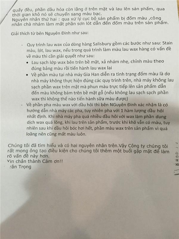 Văn bản xác nhận nguyên nhân hàng kém chất lượng được gửi từ công ty Gia Hân - Tin sao Viet - Tin tuc sao Viet - Scandal sao Viet - Tin tuc cua Sao - Tin cua Sao