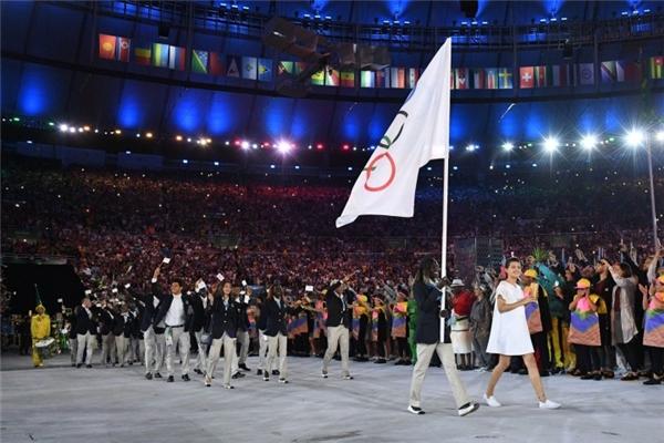 Mardini trong buổi lễ khai mạc Olympic.