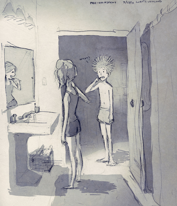 Anh nhớ một lần vàobuổi sáng sớm, em nhìn anh phì cười, anh đãchẳng hiểu gì cả cho đến khi nhận ra quả đầu ngớ ngẩn của mình khi vừangủ dậy.