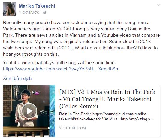 Saukhi nhận phản hồi từ khán giả Việt Nam, nghệ sĩ Nhật Marika Takeuchi muốn thăm do ý kiến về sự giống nhau giữa 2 ca khúc Vết mưa và Rain In The Park. - Tin sao Viet - Tin tuc sao Viet - Scandal sao Viet - Tin tuc cua Sao - Tin cua Sao