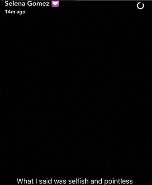 Dòng tâm trạng buồn bã của Selena trên Snapchat.