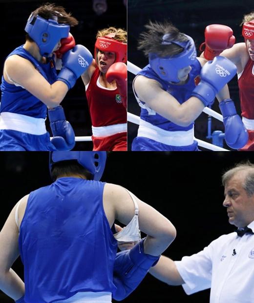 Võ sĩ đấm bốcLi Jinzi của Trung Quốcđã bị tung áo ngực trong khi đang thi đấu rất hăng tại Olympic London 2012.
