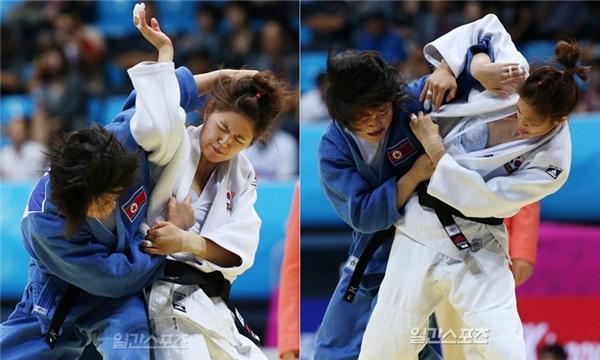 Trong một cuộc đối đầu khốc liệt với đối thủ tại Á vận hội Asian Games năm 2014,vận động viên judo người Hàn Quốc bị xé toạc áo, lộ cả nội y.