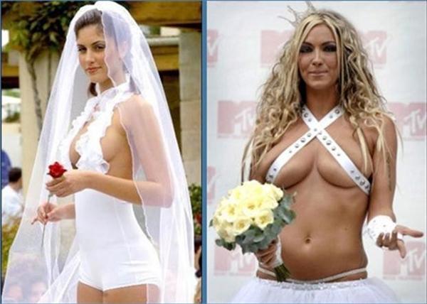 Chắc hẳn cô dâu chú rể muốn tiết kiệm vải để dành tiền tổ chức tiệc hoành tráng cho khách mời.