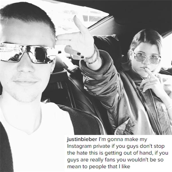 Justin dọa người hâm mộ sẽ chuyển Instagram về chế độ riêng tư.