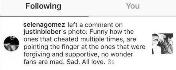 """Selena tố Justin lăng nhăng: """"Thật nực cười khi thấy có những kẻ lợi dụng tôi để được chú ý mà vẫn tìm cách đổ lỗi cho tôi. Buồn thật. Yêu mọi người. Tôi không muốn bất cứ ai bị ghét bỏ cả. Hi vọng tất cả các bạn có thể đối xử tử tế với bạn bè tôi và tử tế với nhau. Tất nhiên tôi yêu người hâm mộ của mình""""."""