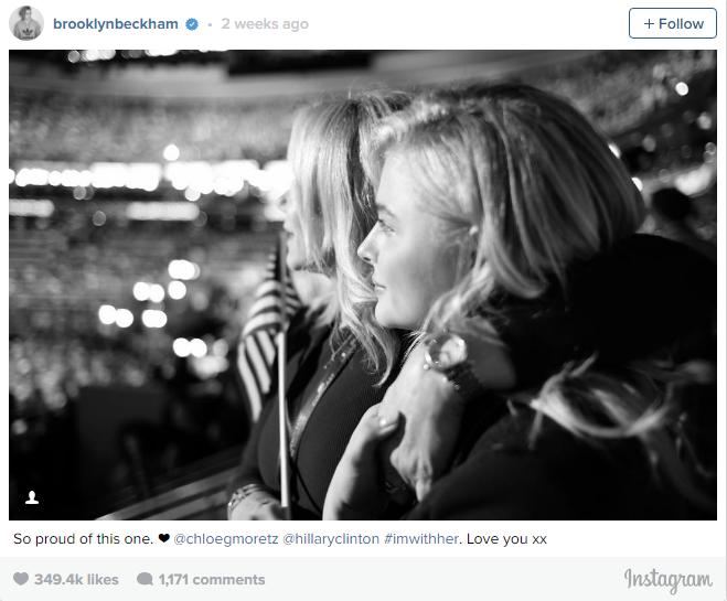 Còn chàng bạn trai Brooklyn đã chia sẻ niềm tự hào của mình với bức ảnh chụp Hillary Clinton và Chloe Moretz. Bạn trai 17 tuổi của Chloe đã chứng tỏ sự trưởng thành của mình khi luôn bên cạnh và ủng hộ bạn gái.