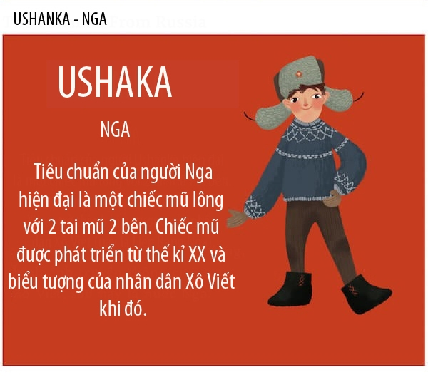 """Ushanka từ có nguồn gốc từ """"ushi"""" nghĩa là taitheo tiếng Nga. Hầu hết các du khách nước ngoài mua quà lưu niệm Nga đều chọn những chiếcmũ màu đen và màu xámđược trang trí với phù hiệu quân sự. Nhưng người Nga thích Ushankas làm bằng lông thú tự nhiên như chồn, cáo hơn."""