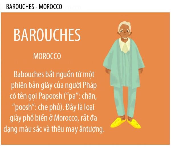Barouches là một loại giày rất phổ biến ở Morocco. Đây là loại giày bítmũi, làm bằng vải và thêu may rất công phu. Barouches được xem như một biểu tượng văn hóa của đất nước Morocco.