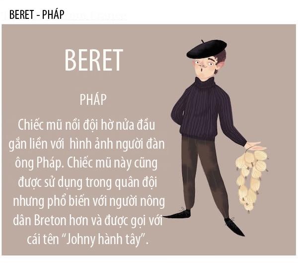 Beret haycòn gọi là mũ nồi, được sản xuất rộng rãi ở Pháp và Tây Ban Nha vào thế kỷ XIX và được sử dụng trong quân sự. Qua nhiều lần thay đổi kiểu dáng, chúng trở thành món đồ thời trang rấtthịnh hành trong những năm 1950 – 1960 khi đượchàng loạt sao nữ bấy giờ ưa chuộng. Ngoài ra, mũ Beret còn là biểu tượng lãng mạn và lịch lãm của các quý ông người Pháp.