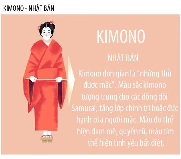 Kimonotheo tiếng Nhật nghĩa là trang phục để chỉ chung tất cả các loại quần áo. Nó đãtrở thành quốc phục của Nhật Bản từ hơn 1.000 năm trước.Cách thức mặc Kimono khá phức tạp vớinhững nguyên tắc riêng. Kimono phải quấn từ bên phải vào trước rồi mới đến bên trái và chỉ quấn ngược lại khi đi dự tang lễ.