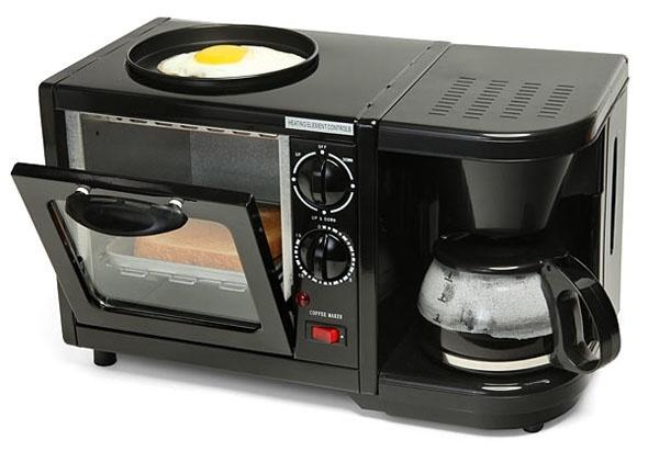 Lò vi sóng kiêm máy pha cà phê và lò nướng thật tiện lợi cho việc chuẩn bimột bữa sáng đầy đủ chất dinh dưỡngtrong chớp mắt.