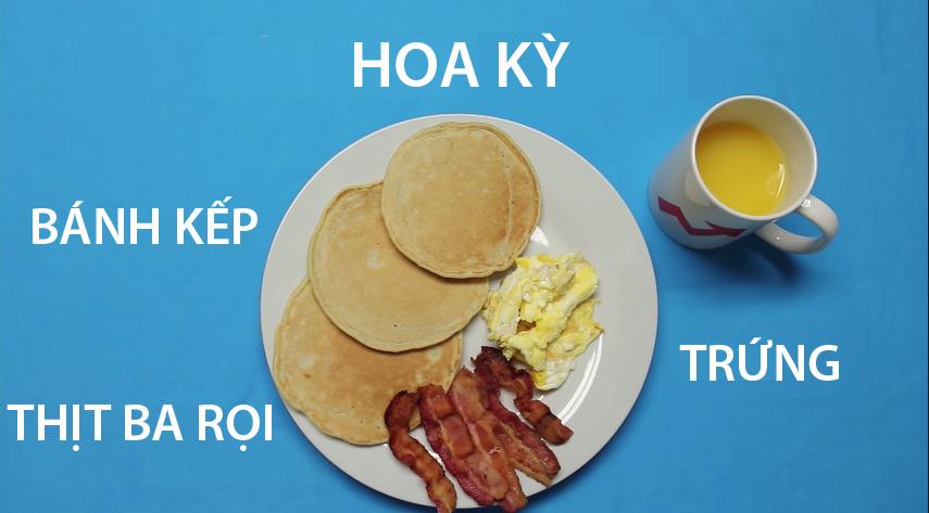 1. Hoa Kỳ - Bữa sáng của người Mỹ đảm bảo cung cấp đủ năng lượng cho cả ngàyvới các loại thức ănchứa nhiềuprotein và tinh bột như bánh kếp (được làm từ bột mì), thịt ba rọi hun khói và trứng chiên. Một cốc nước camlà thức uống không thể thiếu trong bữa sáng dinh dưỡng đó.