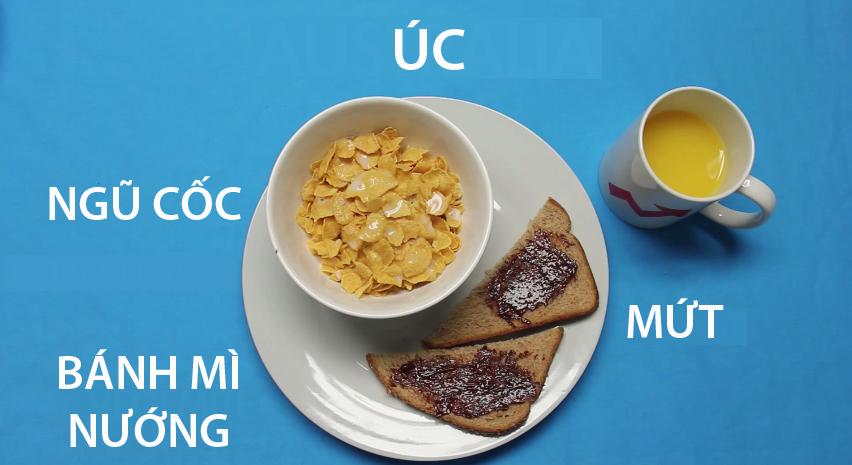 16. Úc - Người dân xứ sở chuột túi chọn cho mình một bữa sáng nhanh, gồm ngũ cốc ăn chung với sữa, bánh mì nướng phết mức trái cây và 1 cốc sữa.