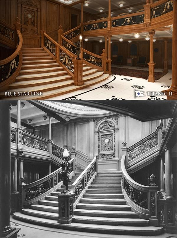 Titanic II sẽ tái hiện lại chiếc cầu thang lớn dành cho hành khách đi vé hạng nhất, chi tiết từng xuất hiện trong bộ phim Titanic năm 1997.
