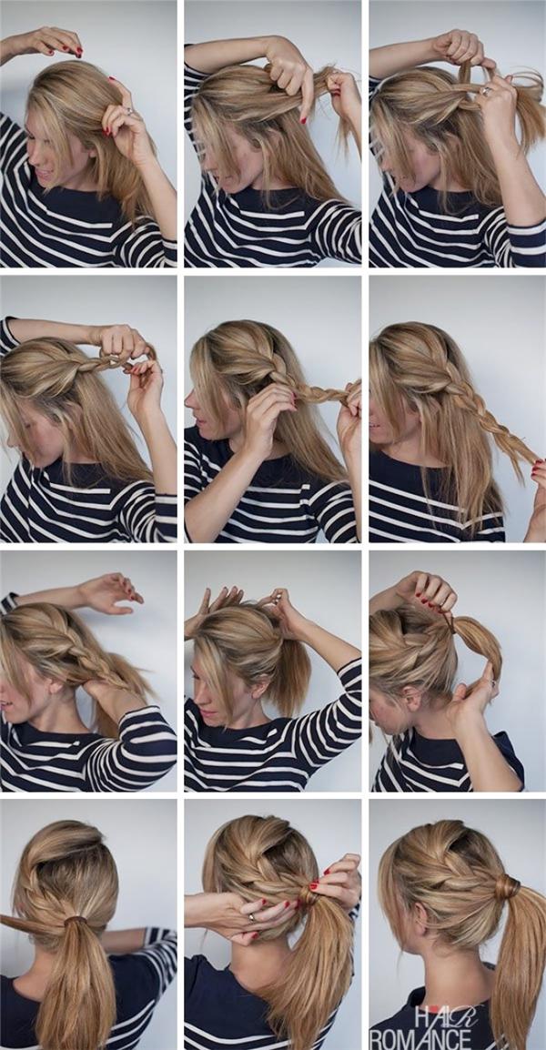 Để kiểu tóc đuôi gà không quá đơn điệu, bạn chỉ cần tết thêm một bím tóc và buộc cao lên là chuẩn nhất rồi.
