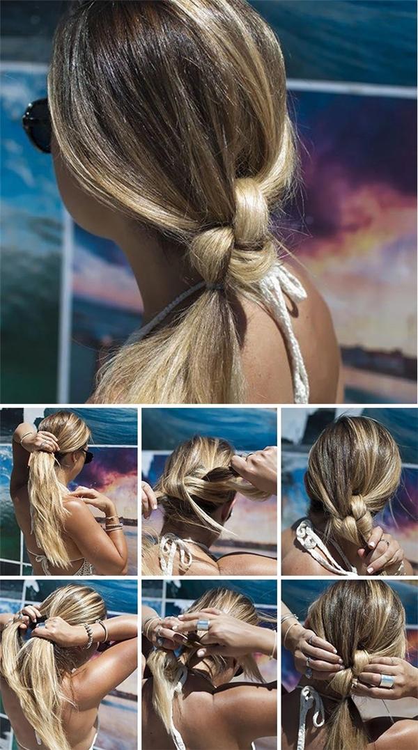 Kiểu tóc buộcnút đôi gọn gàng là lựa chọn thông minh cho những ngày hè oi bức.