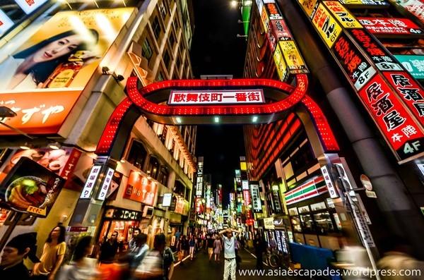 Bên trong khu phố đèn đỏ vô cùng sầm uất của Nhật Bản.