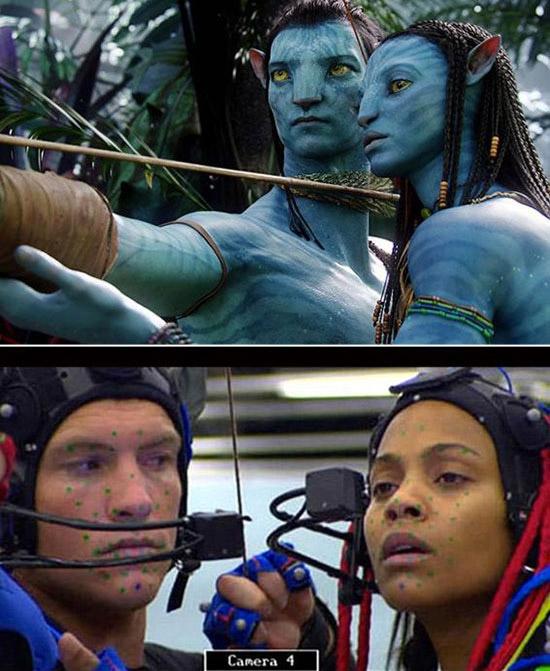 Tuyệt phẩm kỹ xảo từ đầu đến đuôi Avatar lại có ảnh hậu trường thế này đây. Có lẽ các diễn viên phải cố gắng lắm mới nhịn được cười.
