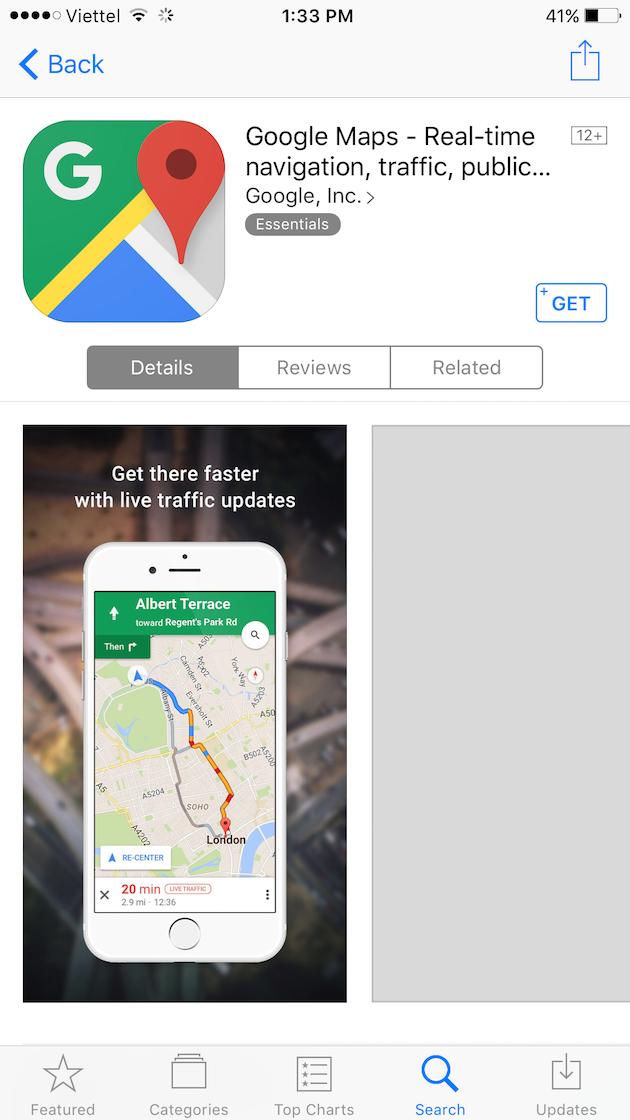 Ứng dụng Google Maps đã có thể chính thức tải với Apple ID Việt Nam. (Ảnh: internet)