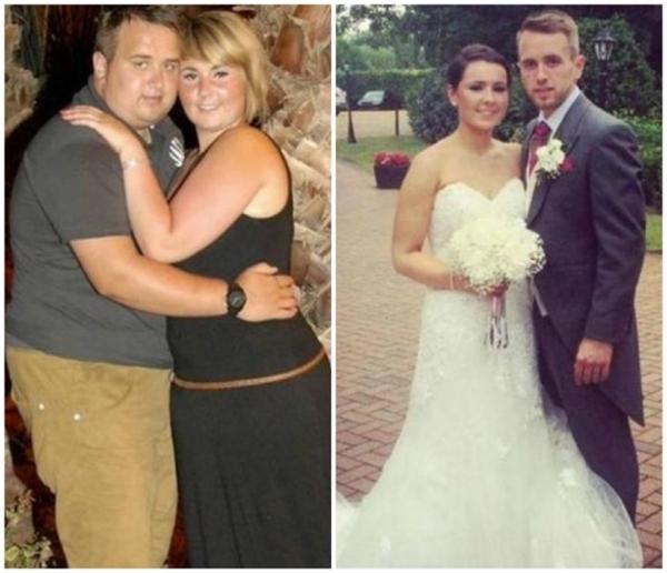 Cặp đôi này đã phải tống đi khoảng 64kg mỗi người để trông thật hoàn hảo trong ngày cưới.