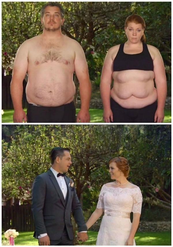 Bryce và Amber giảm 92kg để thật lộng lẫy trong ngày cưới.