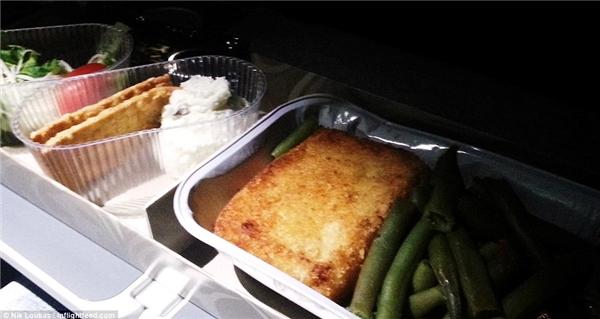 Trên chuyến bay từ New York đến Oslo thuộc hãng hàng không Norwegian Air, Loukas đã được thử món thịt bò với khoai tây nghiền và bông cải xanh.