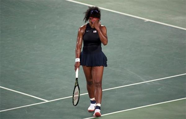 Serena vào giây phút thất bại tại Olympic Rio.(Ảnh: Internet)