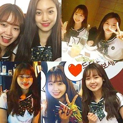 Yoo Jung chụp cùng Minatrong 1 lần ăn uống chung.
