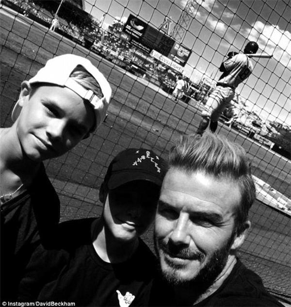 Còn trên Instagram của bố David thì khoe ảnh anh chụp cùng Romeo và Cruz trong một lần đi xem bóng chày.