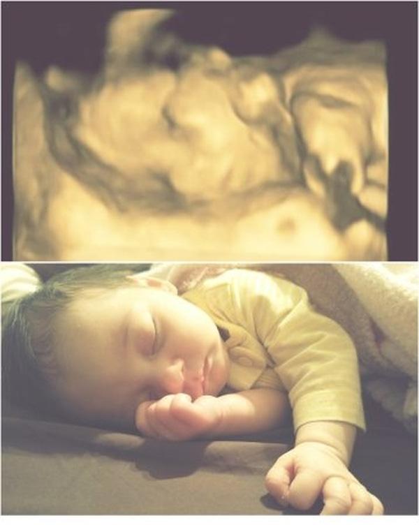 Kiểu ngủ của em bé này không khác trong bụng mẹ là bao.