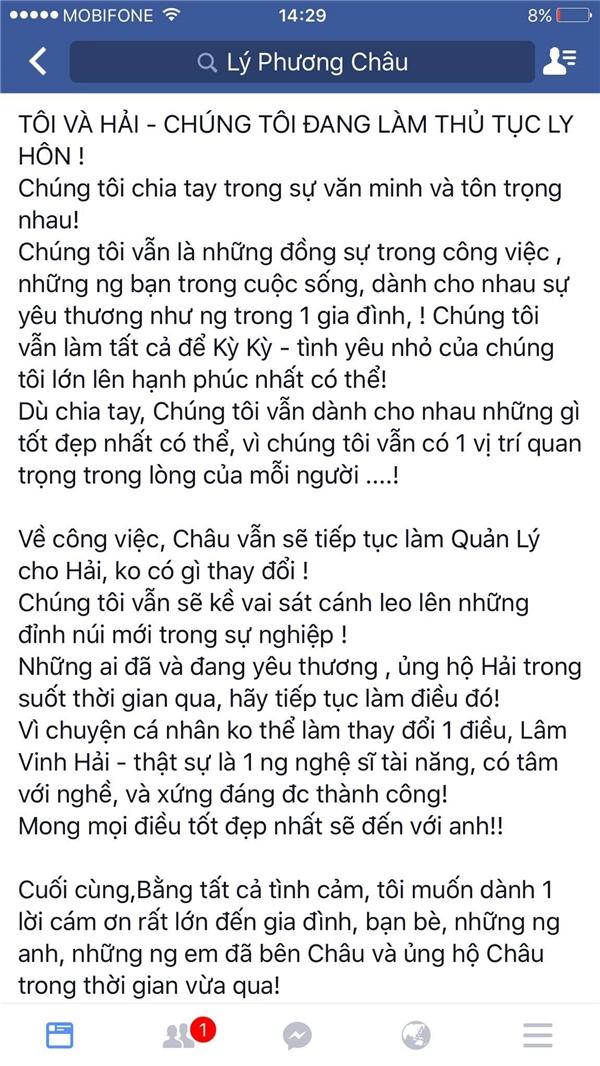"""Dù đã quyết định """"đường ai nấy đi"""" nhưng Lý Phương Châu cho biết cô vẫn sẽ hỗ trợ Lâm Vinh Hải trong công việc. Vợ nam vũ công cho biết họ chia tay nhau trong văn minh và tôn trọng nhau. - Tin sao Viet - Tin tuc sao Viet - Scandal sao Viet - Tin tuc cua Sao - Tin cua Sao"""