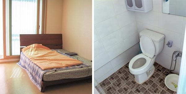 Những căn hộ ở Hàn Quốc thường rất nhỏ song chúng lại tràn ngập ánh sáng nhờ các khung cửa sổ lớn. Điều lạ lùng nhất ở đây có lẽ là sự vắng mặt của bồn tắm và vòi tắm hoa sen riêng biệt trong nhà tắm. Thay vào đó, người Hàn Quốc sử dụng một cái vòiđơn giản đượcnối chung với vòi nước.