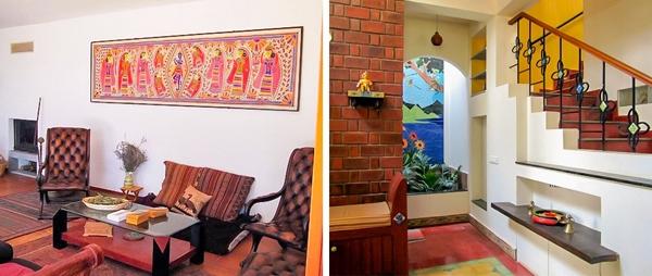 Thiết kế nội thất của các tòa nhà ở Ấn Độ là sự hòa trộn, kết hợp phong cách thiết kế hiện đại của cả phương Đông và phương Tây. Tầng thấpthường được sử dụng để làm nhà kho trongkhi tầng trên dùng để đón khách hoặc tổ chức các nghi lễ quan trọng. Người dân Ấn Độ chọn căn phòng tốt nhất để cầu nguyện. Cửa sổ phòng ngủ của người phụnữ thường hướngra sân sau vì họ quan niệm rằng phụ nữ không nên nhìn ra ngoài cửa sổ.