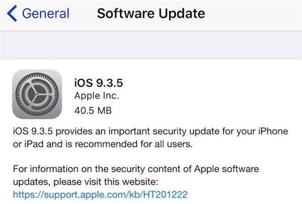 Chi tiết bản cập nhật iOS 9.3.5 (Ảnh: internet)