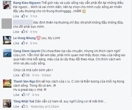 Nhiều ngôi sao nổi tiếng như Bằng Kiều, Ngô Thanh Vân, Hồng Nhung, Diễm Quỳnh, Tăng Nhật Tuệ đều lên tiếng ủng hộ Mỹ Linh.Ảnh: facebook Mỹ Linh - Tin sao Viet - Tin tuc sao Viet - Scandal sao Viet - Tin tuc cua Sao - Tin cua Sao