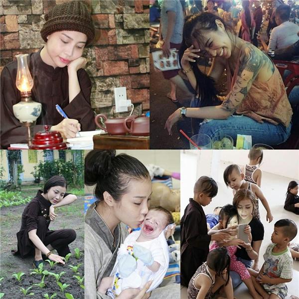 Tuyết Nhixuống tóc vào ngày 15/7 âm lịch vừa qua để cầu nguyện cho ông bà, bố mẹ khỏe mạnh. Cô đã nuôi ý định này suốt hai năm qua và cho đến tháng Vu Lan năm nay (2016), phật tử nàymới có thể thực hiện.