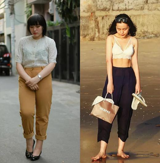 Hình ảnh thay đổi của cô gái trẻ.