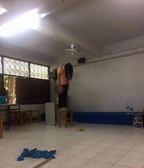 Bức ảnh cô gái treo cổ tự tử khiến dư luận bàng hoàng.