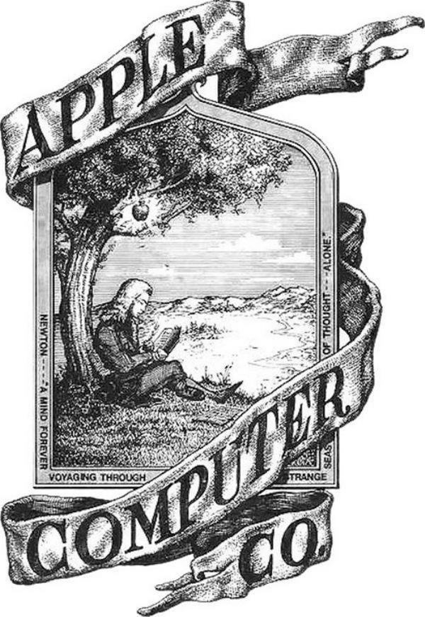 Logo đầu tiên của Apple với hình ảnh nhà khoa học Isaac Newton.