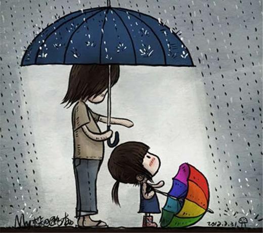 Mùa hè cho con gái cầm chiếc ô sắc màu, cùng con che ô bước đi trong một ngày mưa ướt đẫm.