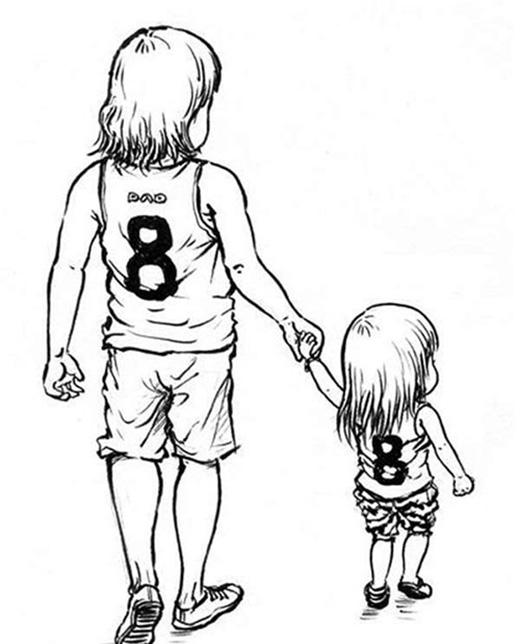 Bố cùng con gái mặc một bộ đồ thật phong cách và giống hệt nhau.