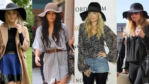 Mũ dạ rộng rành: Kiểu mũ của thập niên 1970 không chỉ xuất hiện trên đường phố mà còn sử dụng trong nhiều sự kiện, giúp tôn lên phong cách ăn mặc của nhiều sao như Nicole Richie, Vanessa Hudgens..