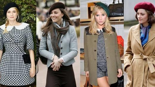 Mũ beret: Với mẫu mũ này, bạn có thể kết hợp với rất nhiều phong cách từ cổ điển như công nương Kate hay trẻ trung như Diane Kruger