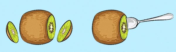 Nhiều người có thói quen gọt kiwi theo cách gọt trái cây thông thường. Tuy nhiên, cách làm này rất mất thời gian và công sức. Để tách vỏ kiwi nhanh chóng, bạn chỉ cần dùng dao thái 2 lát mỏng 2 đầu sau đó lấy thìa khoét phần ruột ra sử dụng.