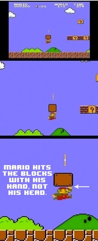 """#20 Chàng Mario không sử dụng đầu để """"cụng"""" vào các chướng ngại vật để nhặt đồng xu hay bảo bối đâu, mà là tay đấy. (Ảnh: BuzzFeed)"""