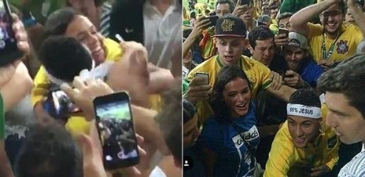 Neymar ôm hôn Bruna sau khi giúp Brazil giành HCV Olympic. (Ảnh: internet)