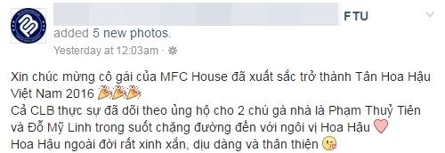 Admin một CLB thuộc trường Đại học Ngoại thương chia sẻ về cảm nhận của mình với tân Hoa hậu Việt Nam 2016.Ảnh: Diễn đàn FTU - Tin sao Viet - Tin tuc sao Viet - Scandal sao Viet - Tin tuc cua Sao - Tin cua Sao
