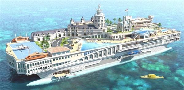 Thiết kế trên là một chiếc du thuyền hạng sang đồng thời làphiên bản mini của một thị trấn, trên thuyền sẽ có các tòa nhàvới những con đường cho xe lưu thông, khách sạn, nhà hàng, trung tâm mua sắm, quán cà phê và cả sòng bạc.